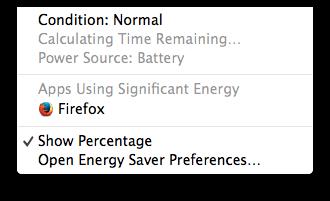 Меню батареи в OS X Маверикс